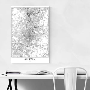 Austin Black & White City Map Canvas Art Print
