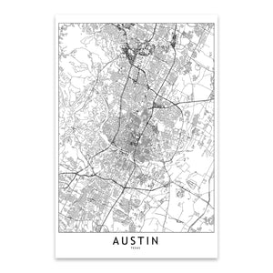 Austin Black & White City Map Metal Art Print