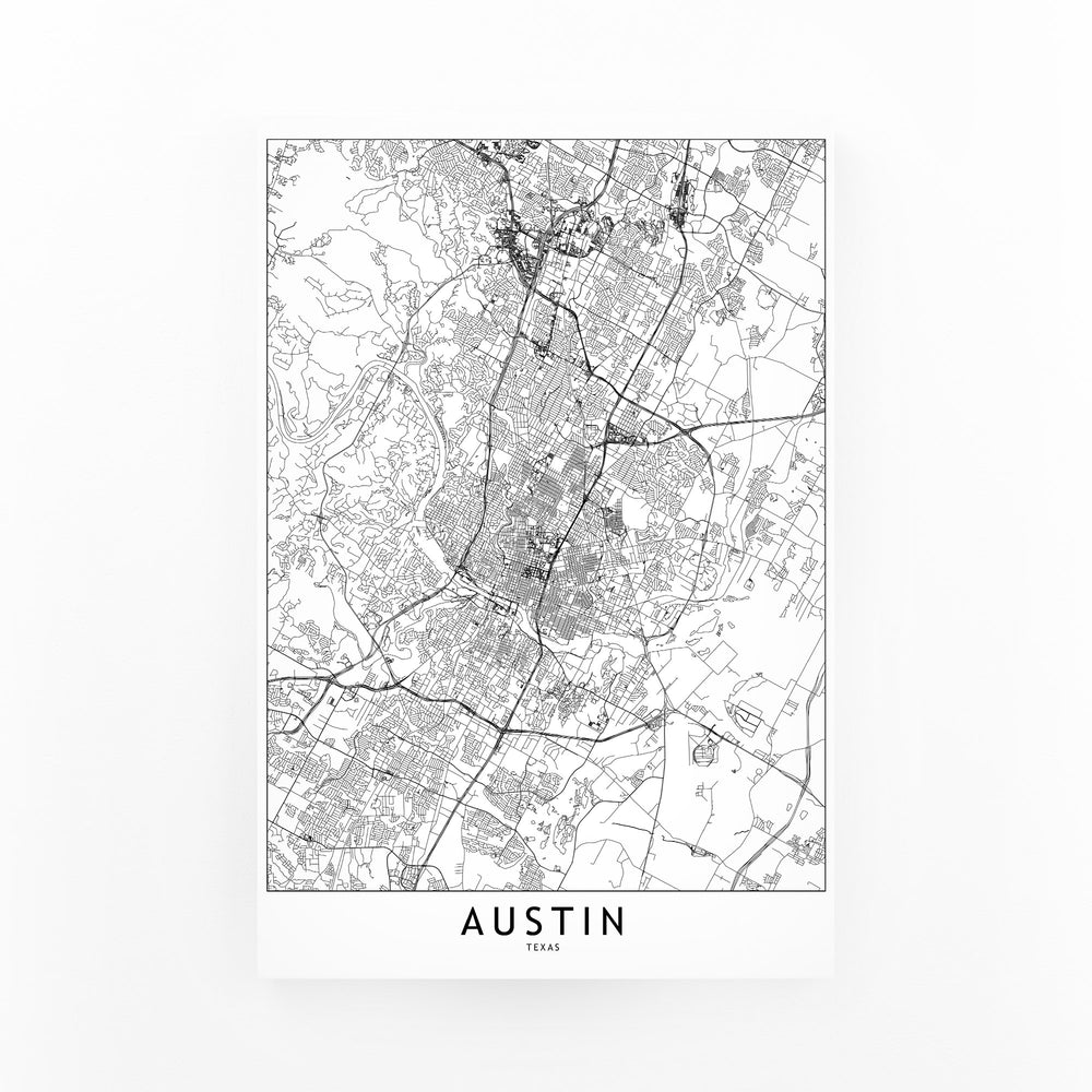 Austin Black & White City Map Mounted Art Print