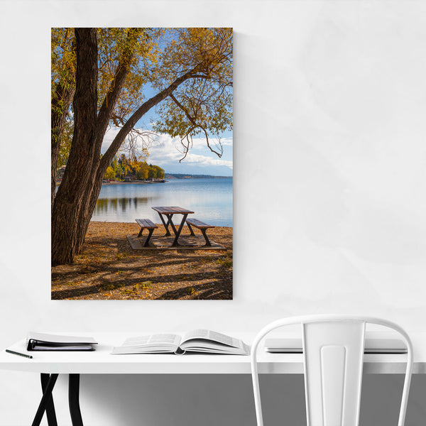 Bench Autumn Color Lake Nature Art Print