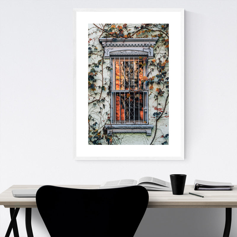 Fall Autumn Leaves Vines Color Framed Art Print