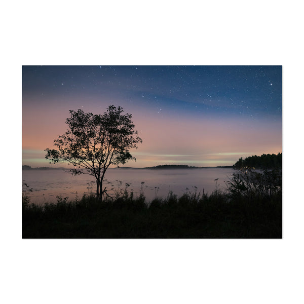 Northern Lights Finland Lake Art Print
