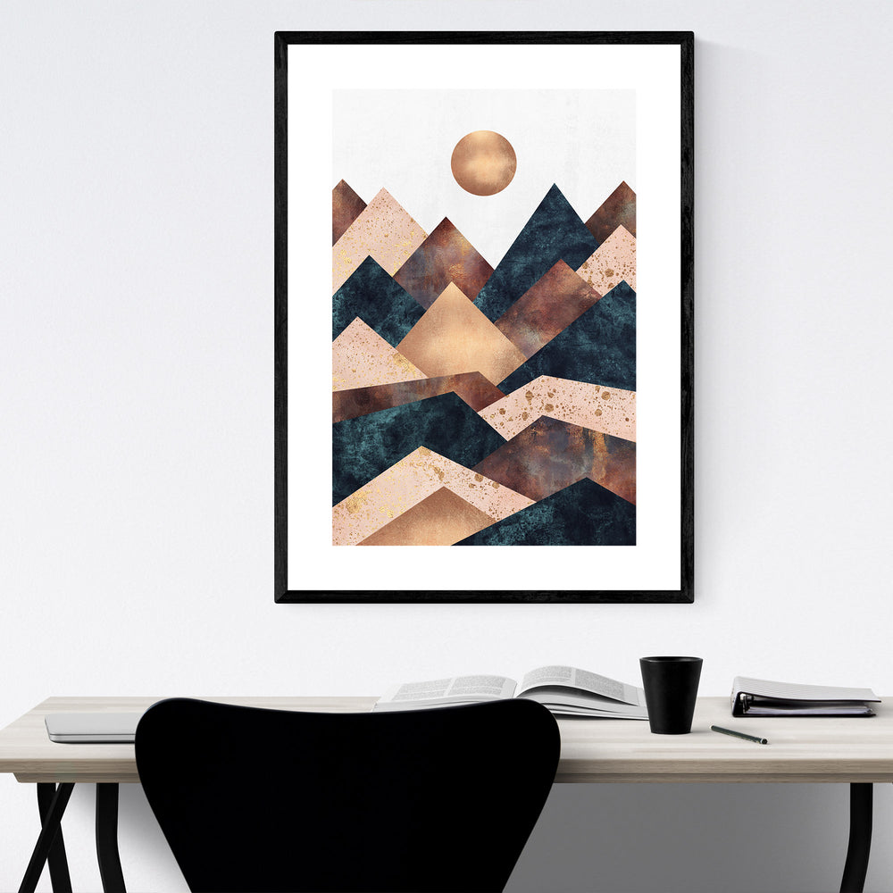 Fall Mountain Geometric Abstract Print, Canvas, Metal, Framed Wall ...