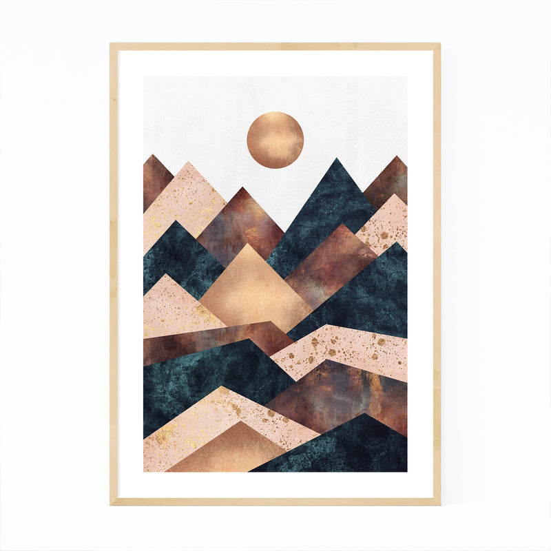 Fall Mountain Geometric Abstract Framed Art Print