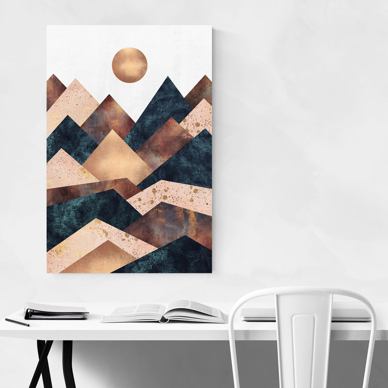 Fall Mountain Geometric Abstract Canvas Art Print