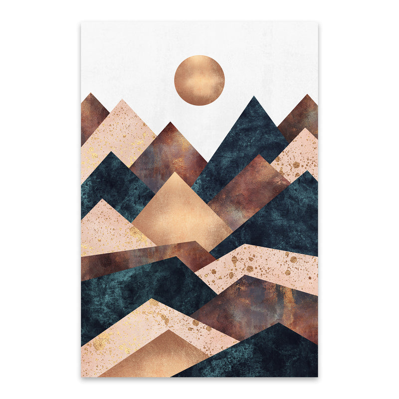 Fall Mountain Geometric Abstract Metal Art Print