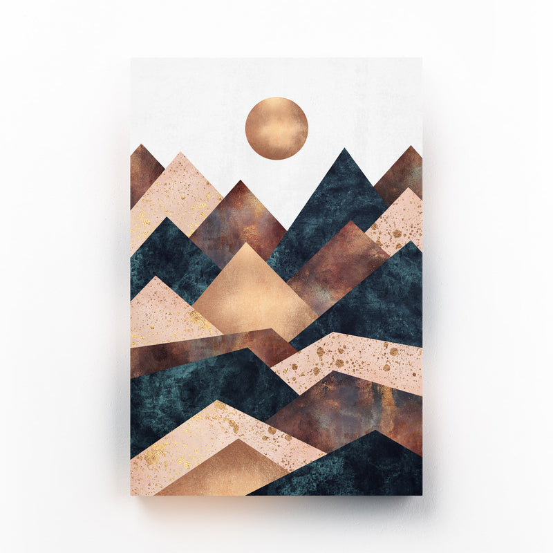 Fall Mountain Geometric Abstract Mounted Art Print