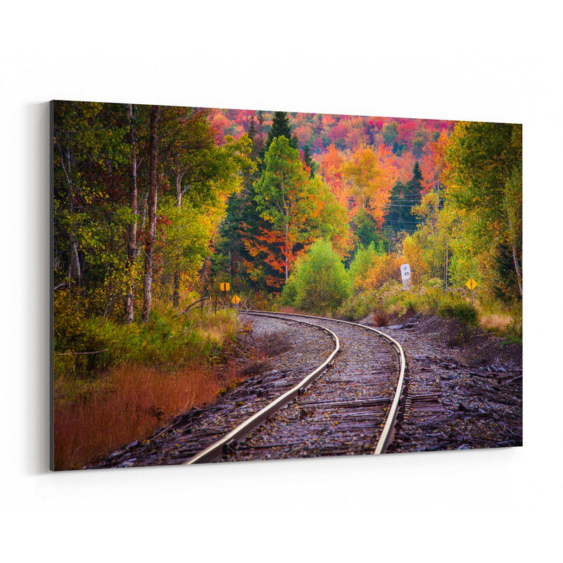 Autumn Railroad Train Track Canvas Art Print