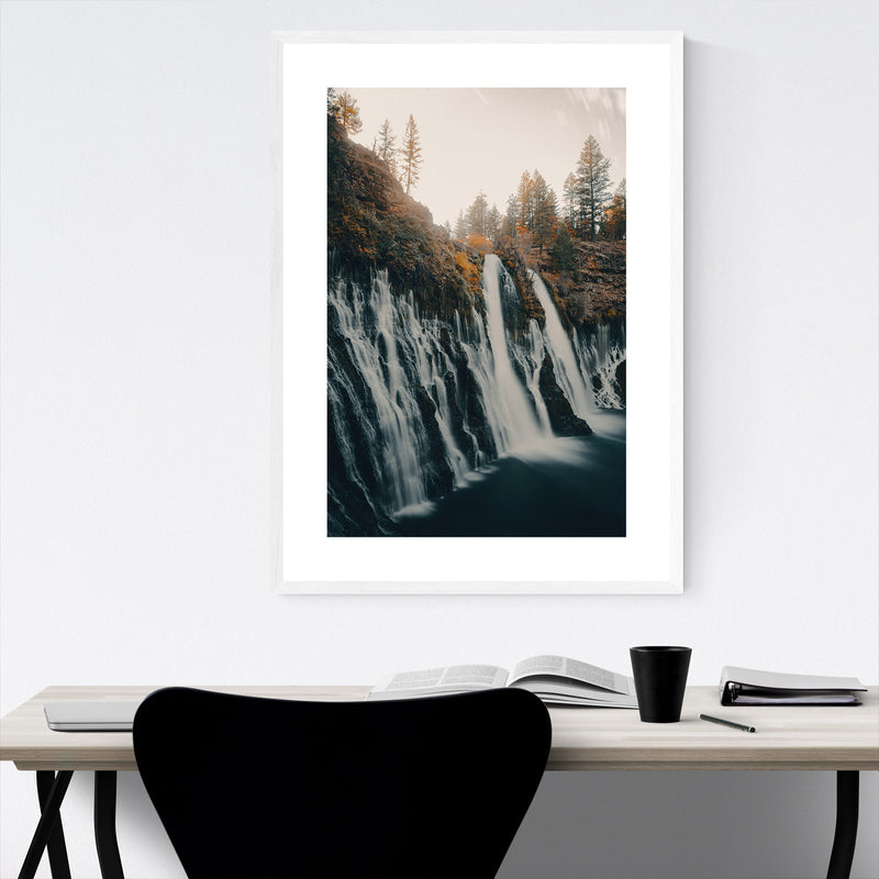 Sweden Landscape Nature Waterfall Framed Art Print
