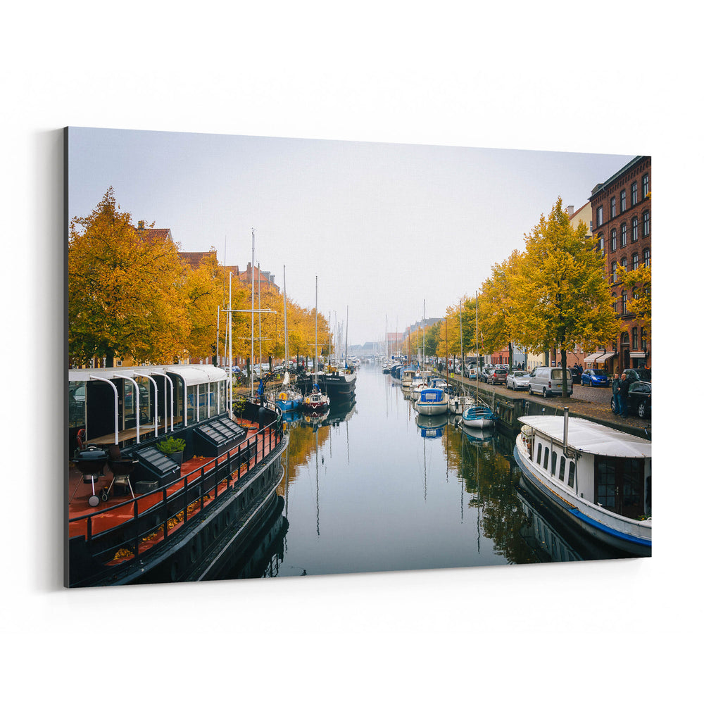 Copenhagen Denmark Autumn Canal Canvas Art Print