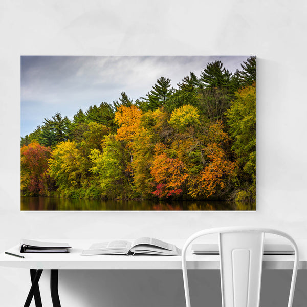 Autumn Fall Color on Lake Nature Art Print