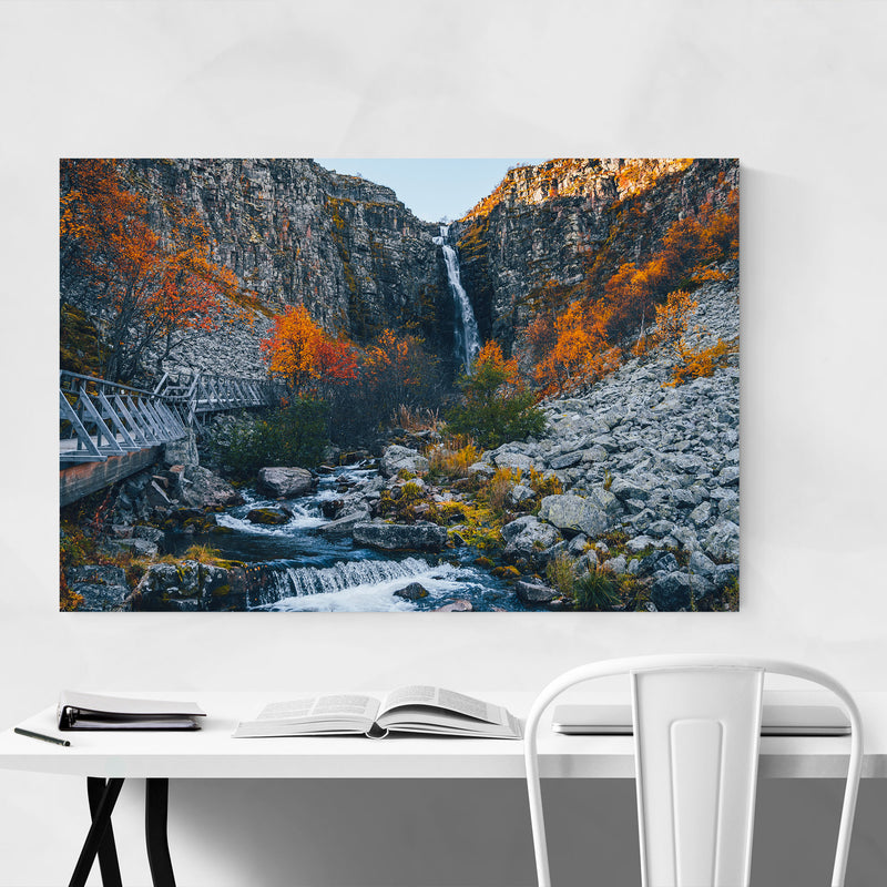Sweden Landscape Nature Autumn Metal Art Print