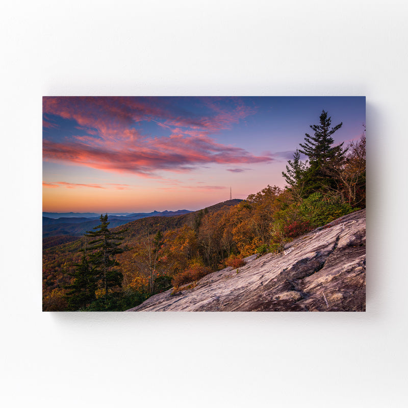 Autumn Mountains Landscape View Mounted Art Print