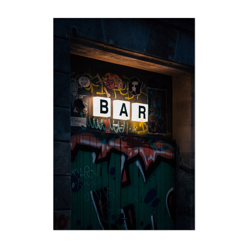Bar Sign City Barcelona Spain Art Print