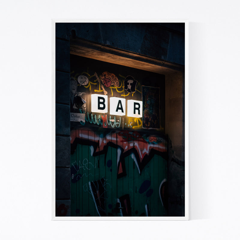 Bar Sign City Barcelona Spain Framed Art Print