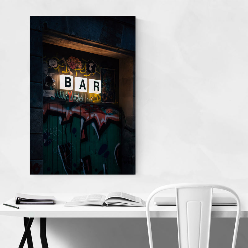 Bar Sign City Barcelona Spain Canvas Art Print
