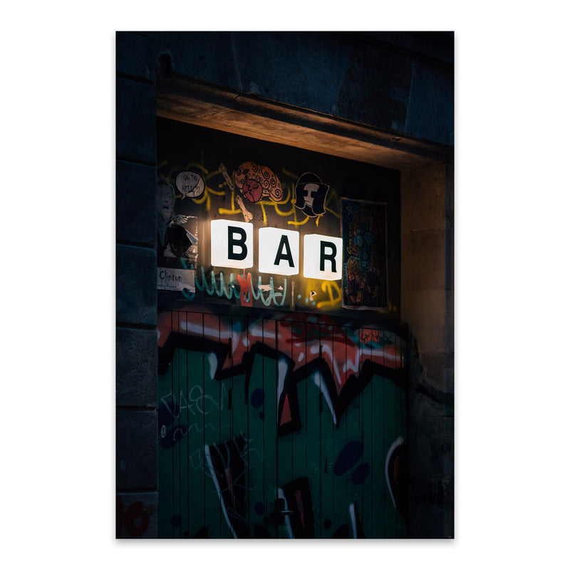 Bar Sign City Barcelona Spain Metal Art Print