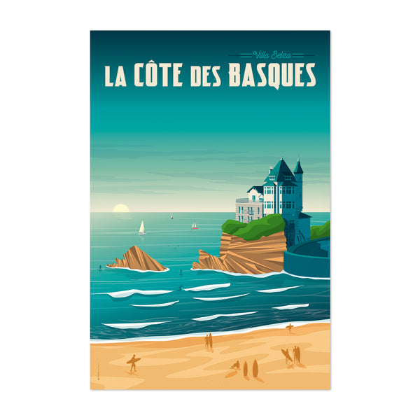 Retro Biarritz Travel Print Art Print
