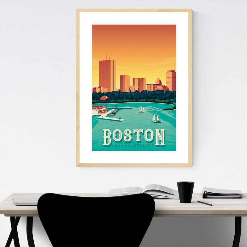 Vintage Boston Travel Print Framed Art Print