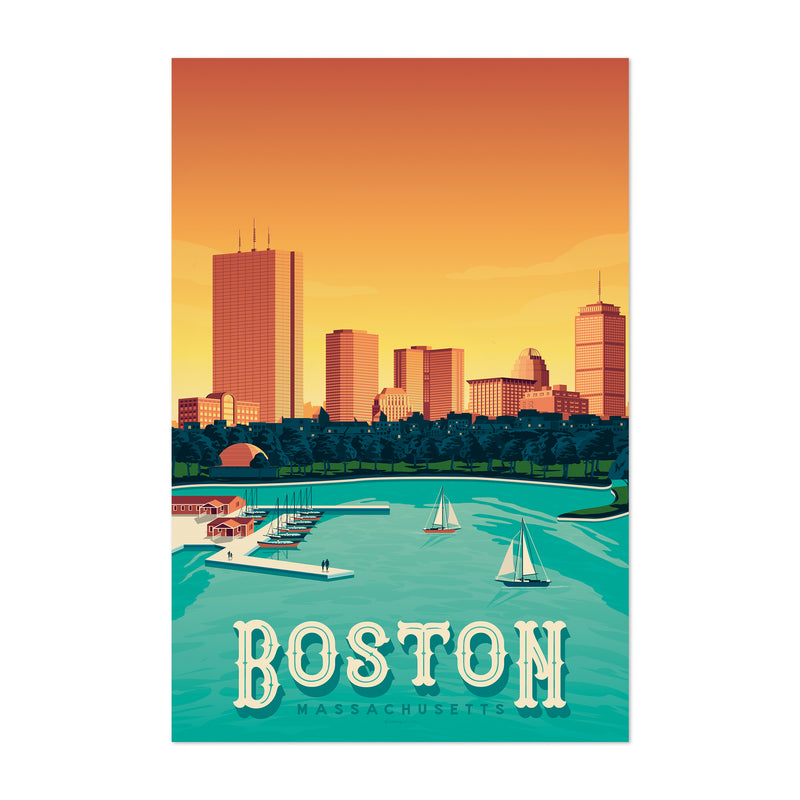 Vintage Boston Travel Print Art Print