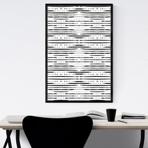 Black & White Shibori Pattern Framed Art Print