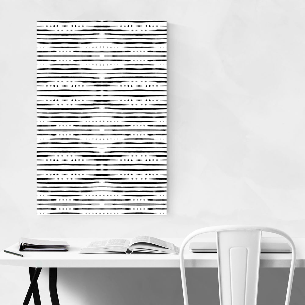 Black & White Shibori Pattern Canvas Art Print