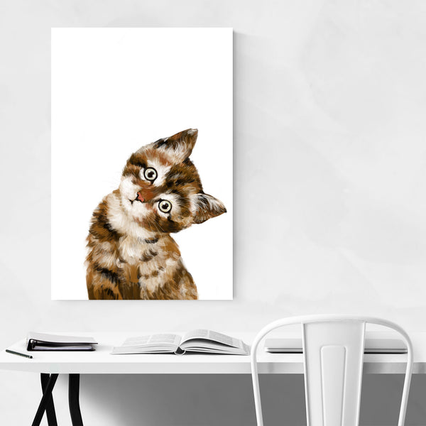 Baby Kitten Peekaboo Animal Art Print