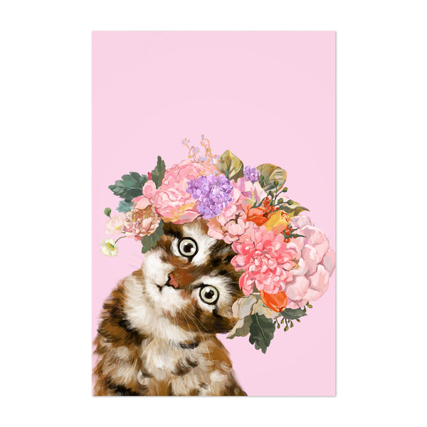 Kitten Peekaboo Flower Animal Art Print