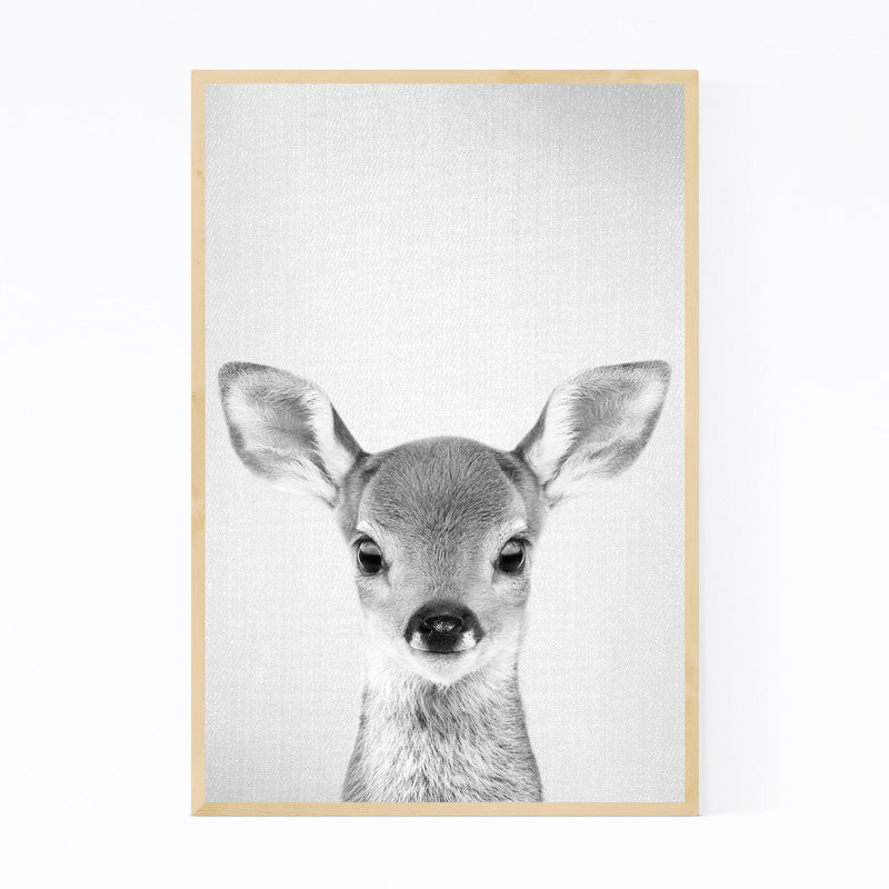 Cute Baby Deer Peekaboo Animal Framed Art Print