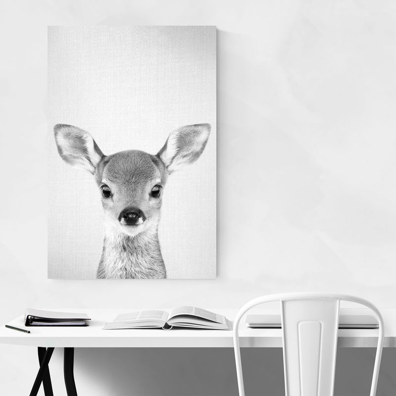 Cute Baby Deer Peekaboo Animal Canvas Art Print