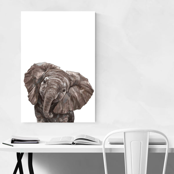 Baby Elephant Peekaboo Animal Art Print