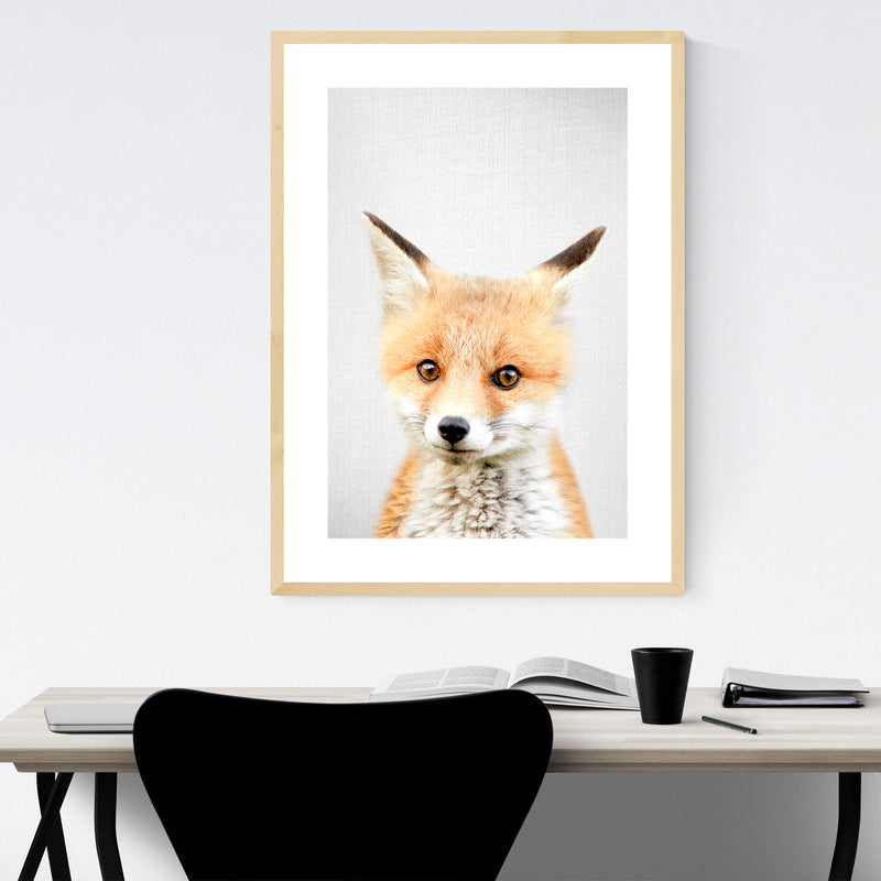 Cute Baby Fox Peekaboo Animal Framed Art Print