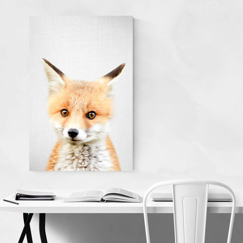 Cute Baby Fox Peekaboo Animal Metal Art Print