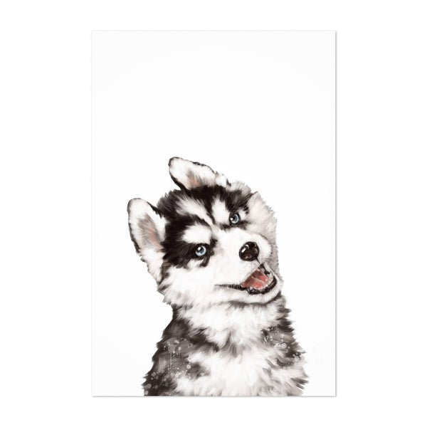 Cute Husky Dog Peekaboo Animal Art Print