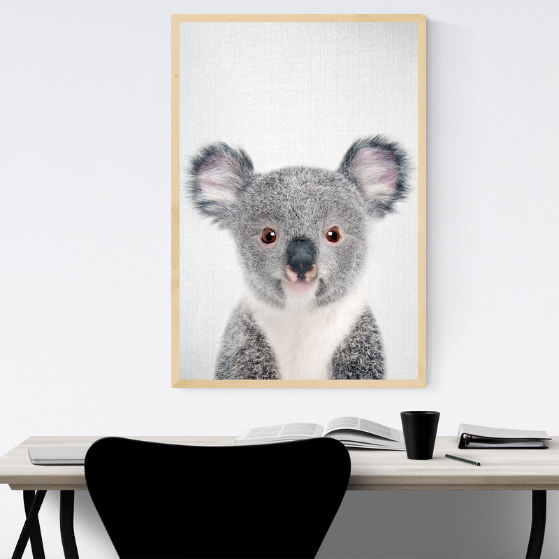 Cute Baby Koala Peekaboo Animal Framed Art Print