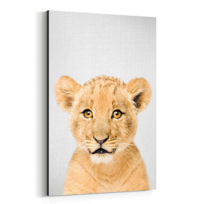 Cute Baby Lion Peekaboo Animal Canvas Art Print