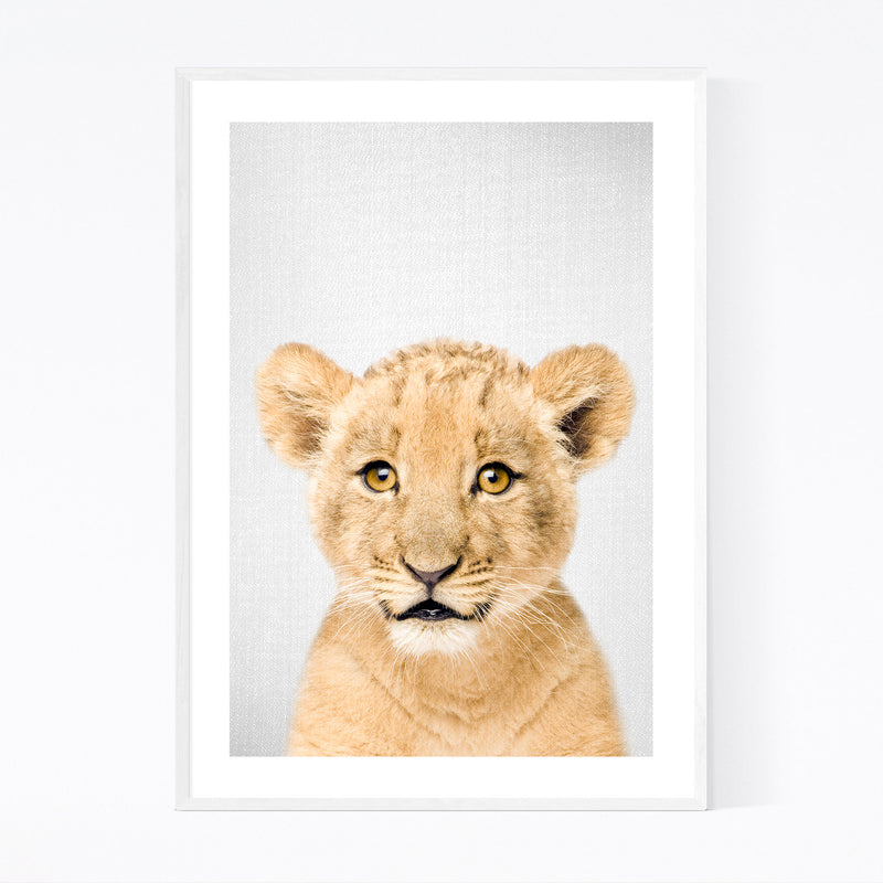 Cute Baby Lion Peekaboo Animal Framed Art Print