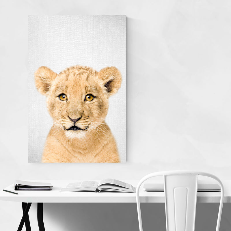 Cute Baby Lion Peekaboo Animal Metal Art Print