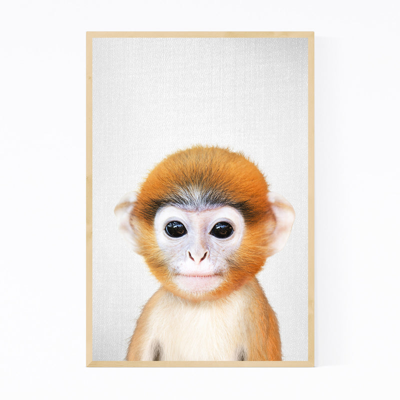 Cute Baby Monkey Peekaboo Animal Framed Art Print
