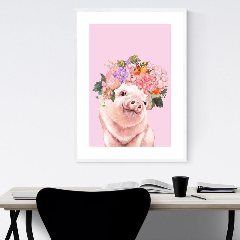 Cute Pig Piglet Peekaboo Animal Framed Art Print
