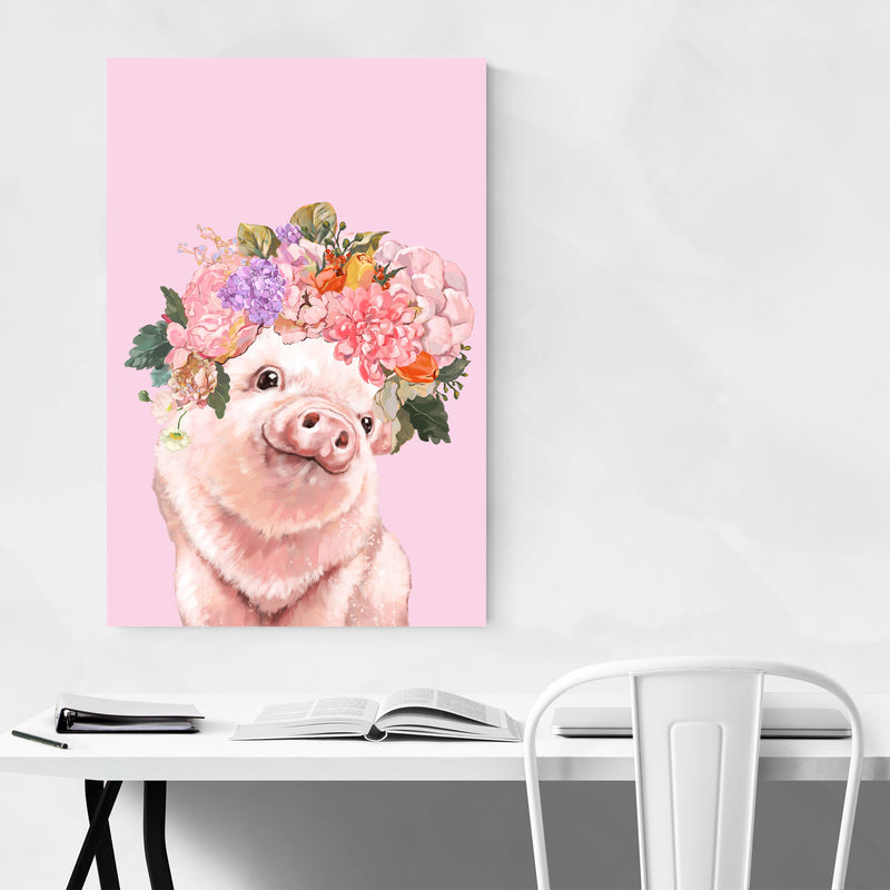 Cute Pig Piglet Peekaboo Animal Canvas Art Print