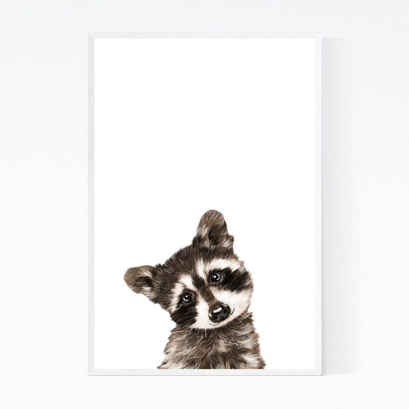 Baby Raccoon Peekaboo Animal Framed Art Print