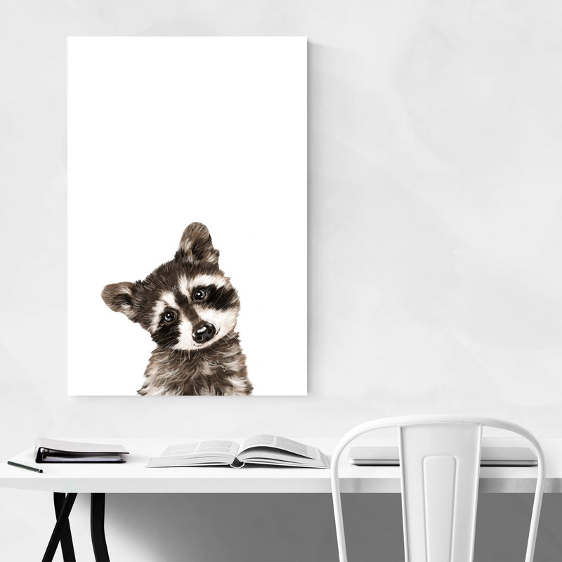 Baby Raccoon Peekaboo Animal Metal Art Print