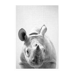 Cute Baby Rhino Peekaboo Animal Art Print