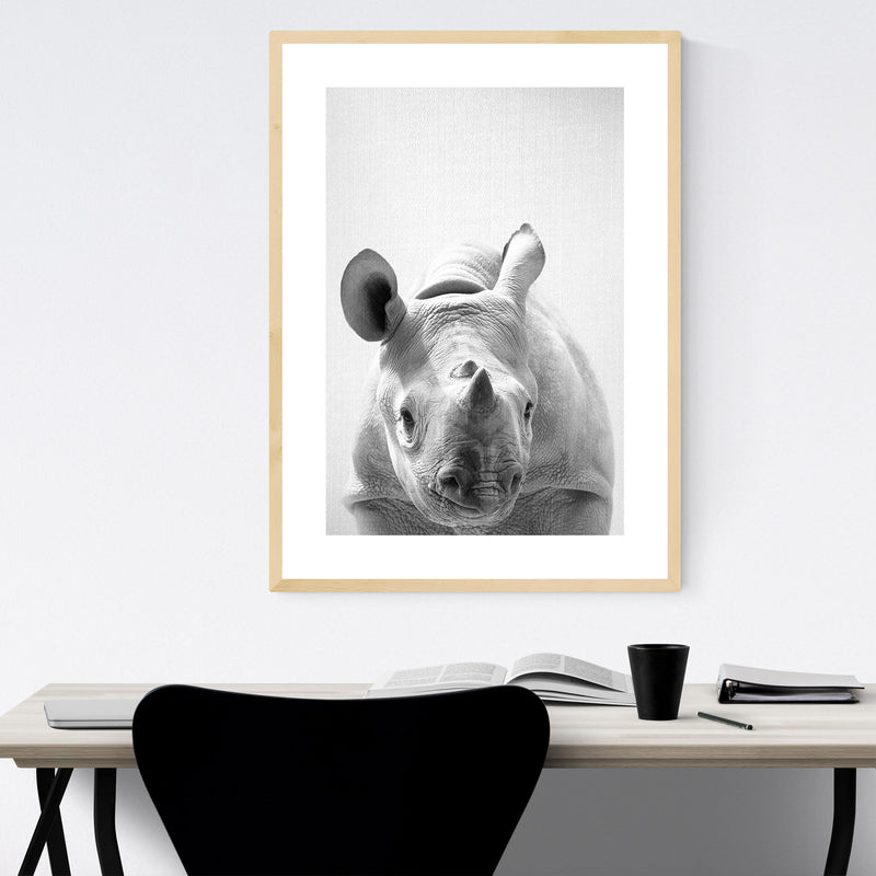 Cute Baby Rhino Peekaboo Animal Framed Art Print