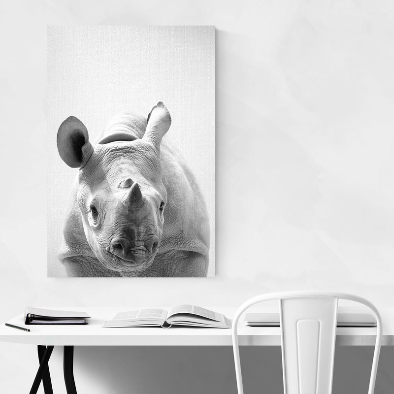 Cute Baby Rhino Peekaboo Animal Canvas Art Print