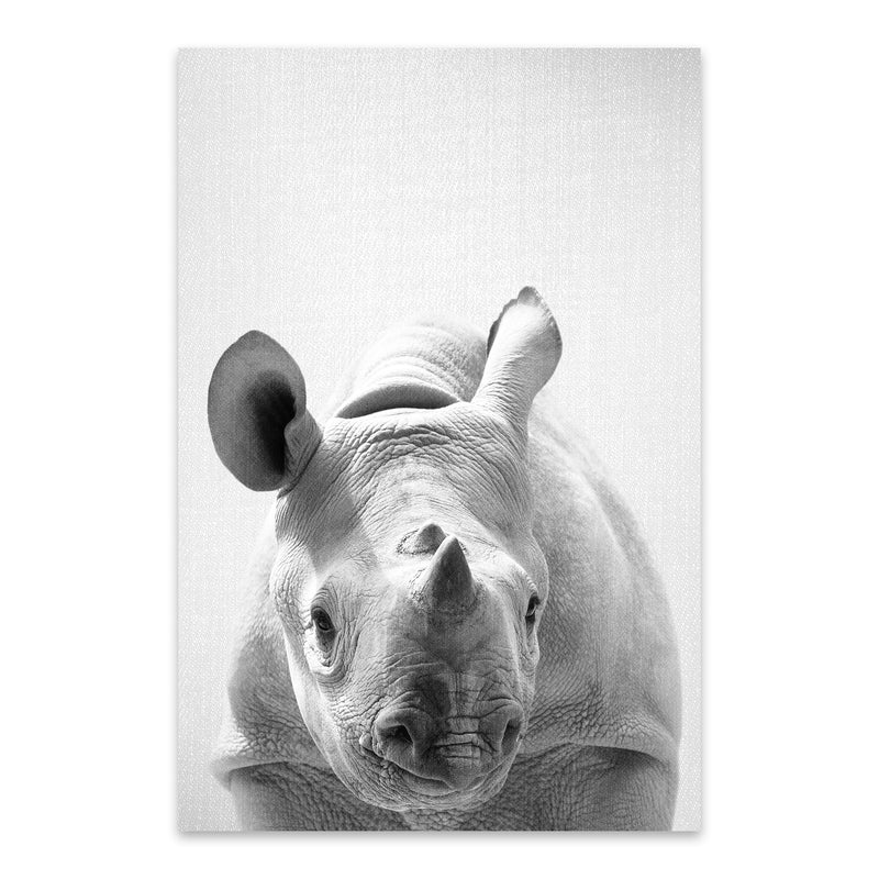 Cute Baby Rhino Peekaboo Animal Metal Art Print