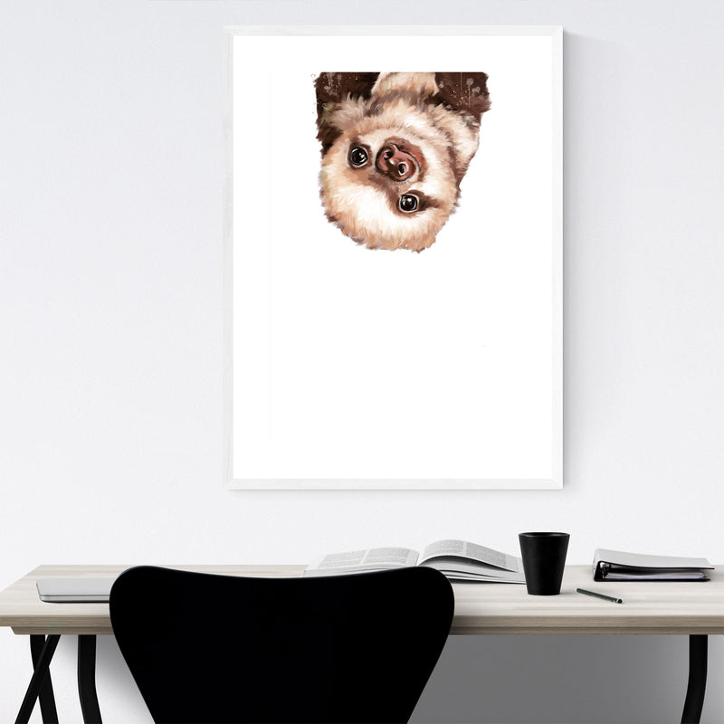 Cute Baby Sloth Peekaboo Animal Framed Art Print