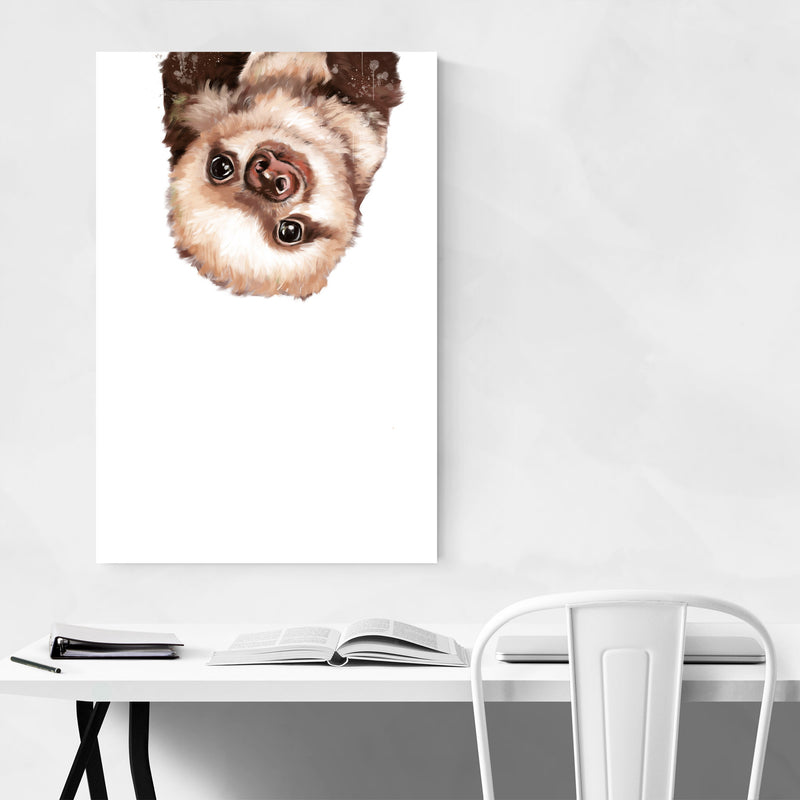 Cute Baby Sloth Peekaboo Animal Canvas Art Print