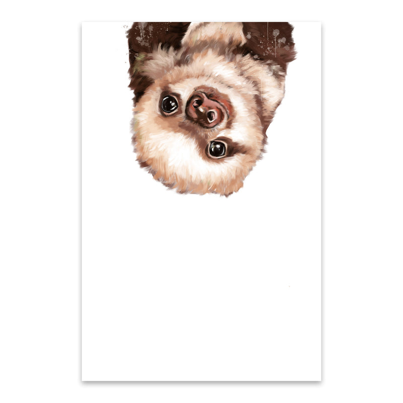 Cute Baby Sloth Peekaboo Animal Metal Art Print